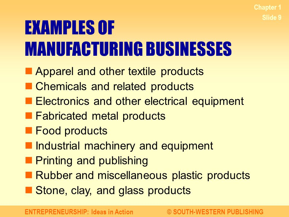 ENTREPRENEURSHIP: Ideas in Action© SOUTH-WESTERN PUBLISHING Chapter 1 Slide 10 EXAMPLES OF WHOLESALING BUSINESSES Apparel Electrical goods Groceries and related products Hardware, plumbing, heating equipment Lumber, construction materials Machinery, equipment, supplies Motor vehicles, automotive equipment Paper, paper products Petroleum, petroleum products