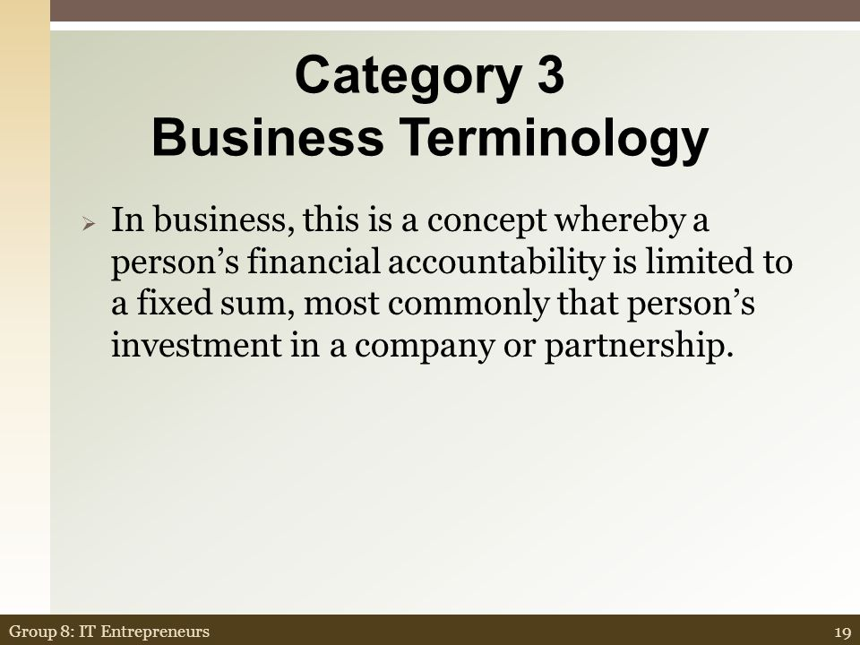 Category 3 Business Terminology For $1.00 What is a sole proprietorship.