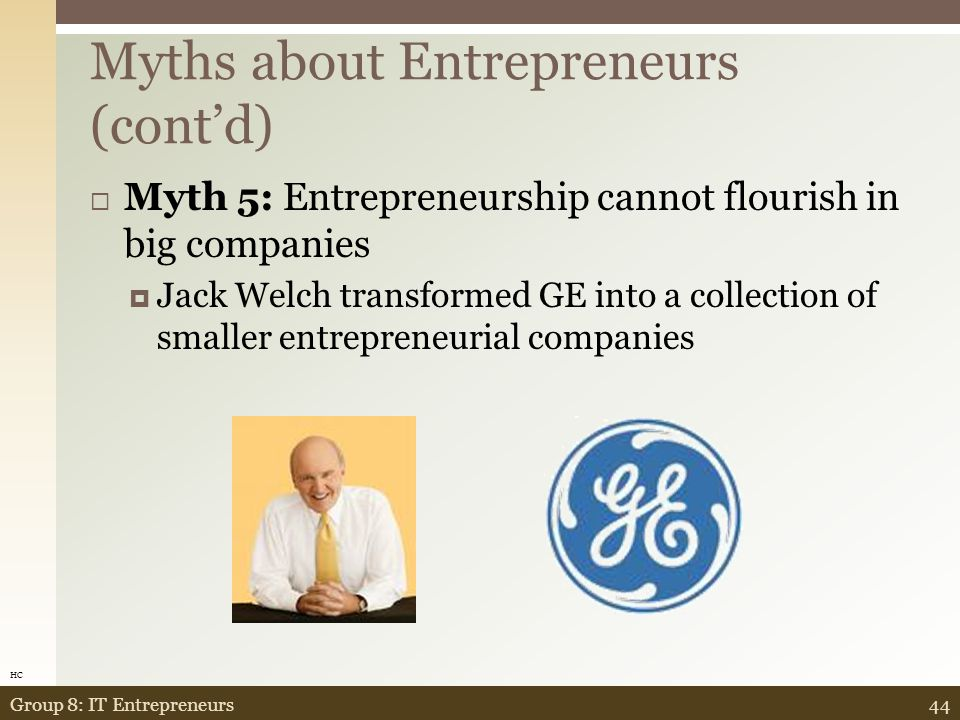  Myth 4: To succeed, entrepreneurs should produce a world-changing new product  Not true.