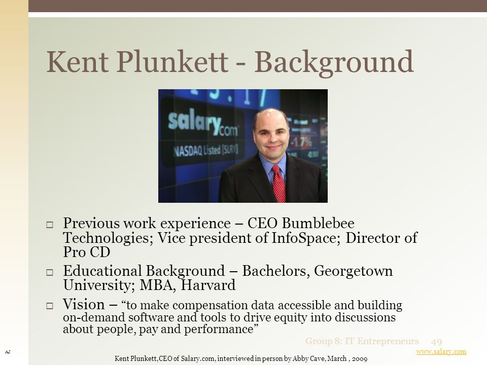 Kent Plunkett  CEO and Founder of Salary.com, an online salary wizard and software provider 1 Brant and Brock Bukowsky  Founders of Show-Me Tickets, an online ticket brokerage and Mortgage Research Center an online VA mortgage brokerage 2 Mark Cuban  American billionaire entrepreneur.