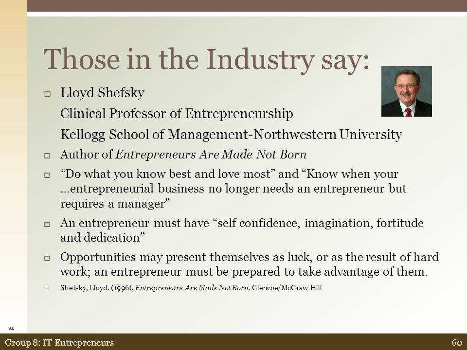 Those in the Industry Say: 59Group 8: IT Entrepreneurs  Dr.
