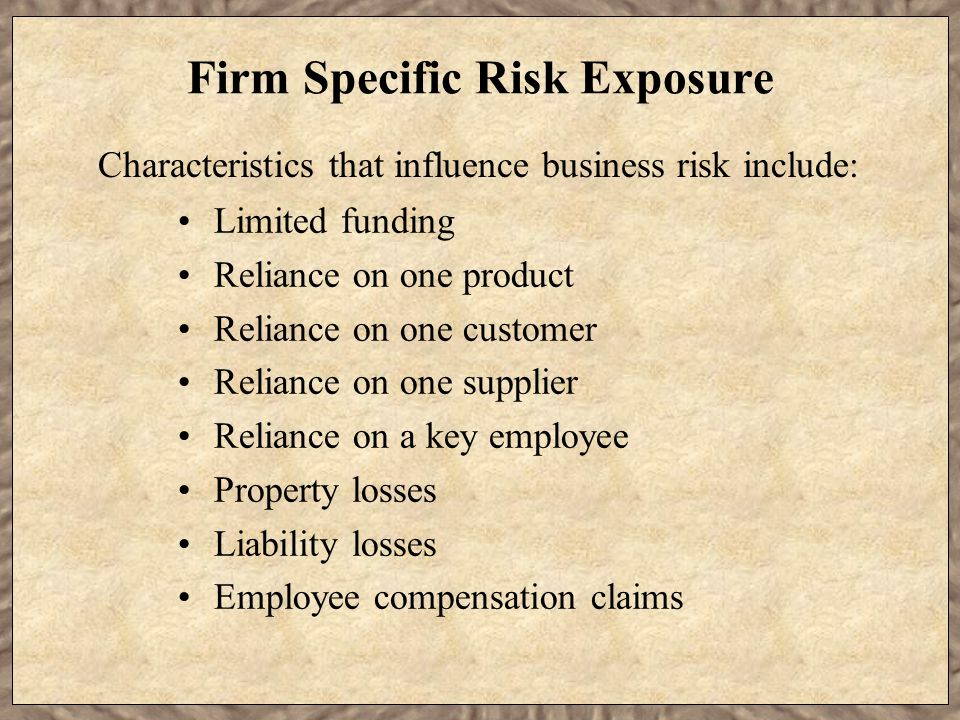 Firm Specific Risk Exposure Limited funding Reliance on one product Reliance on one customer Reliance on one supplier Reliance on a key employee Property losses Liability losses Employee compensation claims Characteristics that influence business risk include: