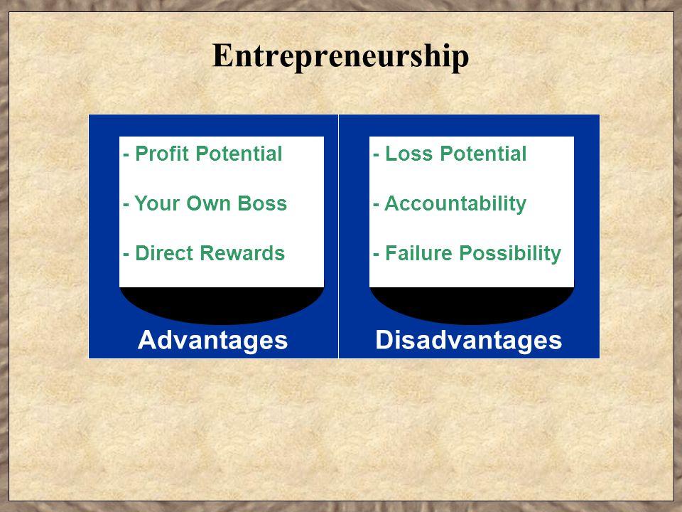 Entrepreneurship DisadvantagesAdvantages - Profit Potential - Your Own Boss - Direct Rewards - Loss Potential - Accountability - Failure Possibility
