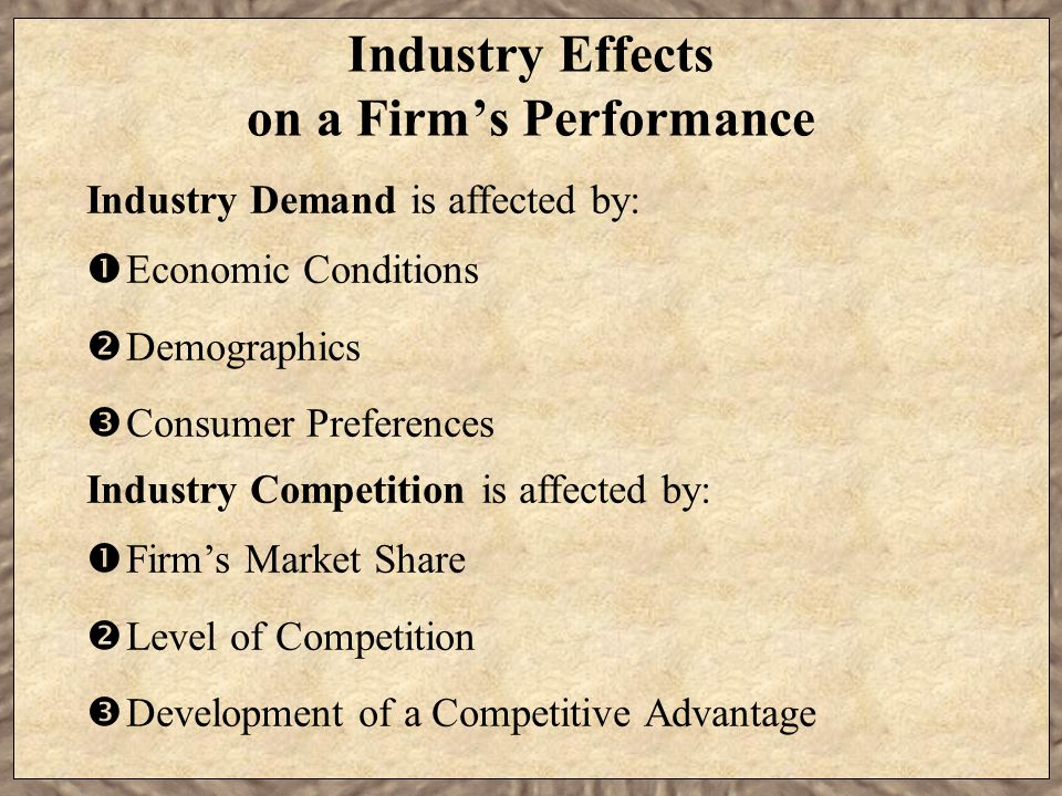 Industry Effects on a Firm's Performance Industry Demand is affected by:  Economic Conditions  Demographics  Consumer Preferences Industry Competition is affected by:  Firm's Market Share  Level of Competition  Development of a Competitive Advantage