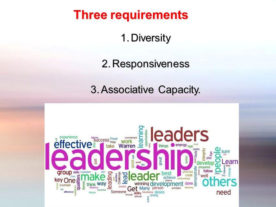 1.Diversity 2.Responsiveness 3.Associative Capacity. Three requirements