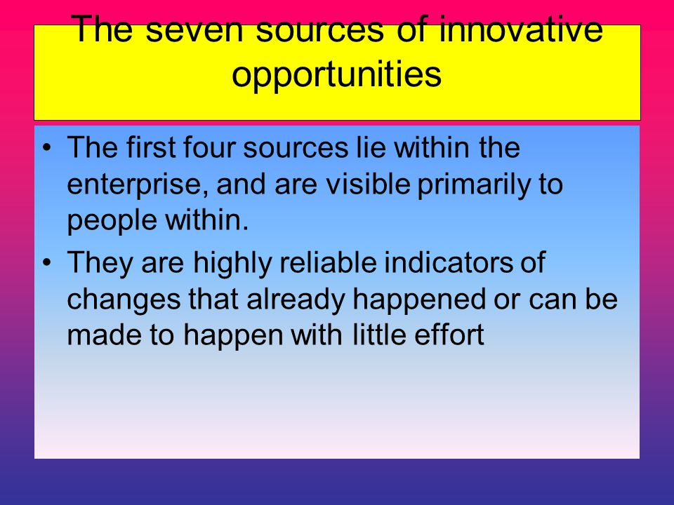 The seven sources of innovative opportunities The first four sources lie within the enterprise, and are visible primarily to people within.