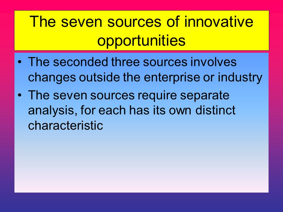 The seven sources of innovative opportunities The seconded three sources involves changes outside the enterprise or industry The seven sources require separate analysis, for each has its own distinct characteristic
