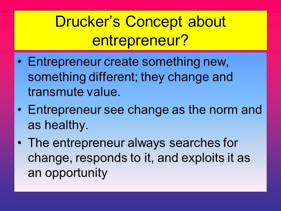Drucker's Concept about entrepreneur.