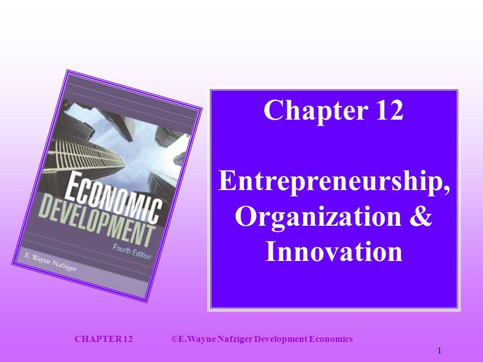 CHAPTER 12©E.Wayne Nafziger Development Economics 1 Chapter 12 Entrepreneurship, Organization & Innovation