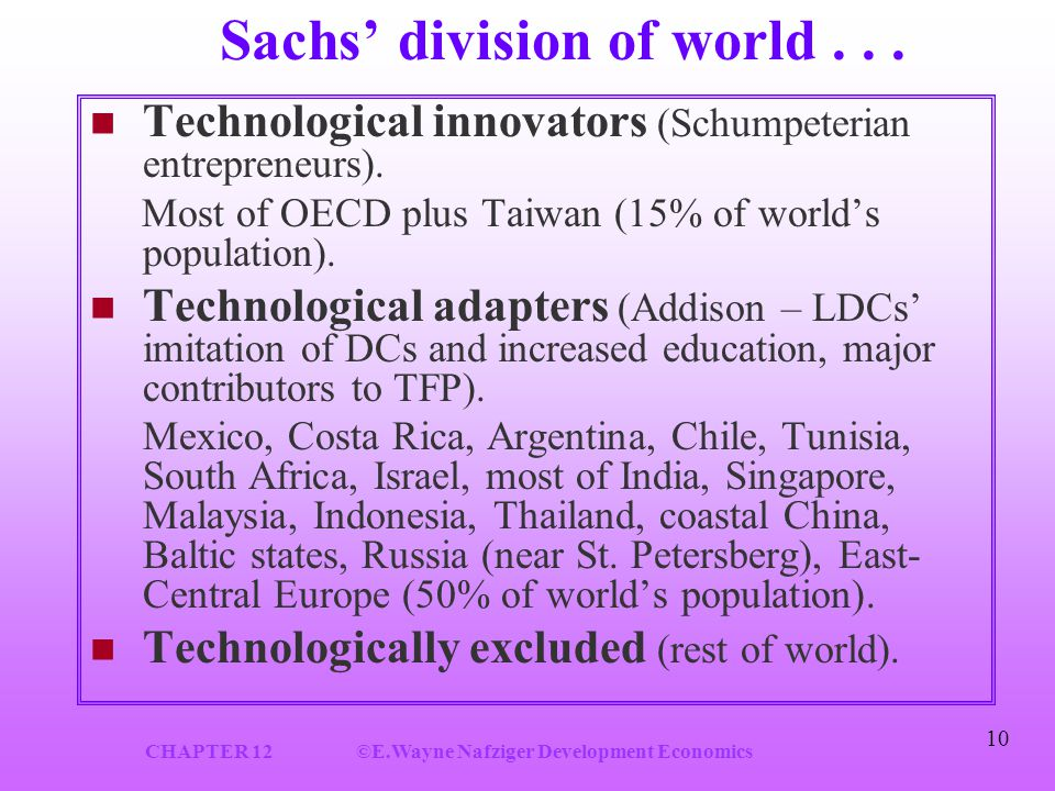 CHAPTER 12©E.Wayne Nafziger Development Economics 10 Sachs' division of world...