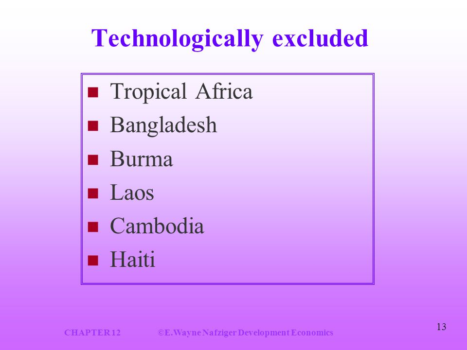 CHAPTER 12©E.Wayne Nafziger Development Economics 13 Technologically excluded Tropical Africa Bangladesh Burma Laos Cambodia Haiti