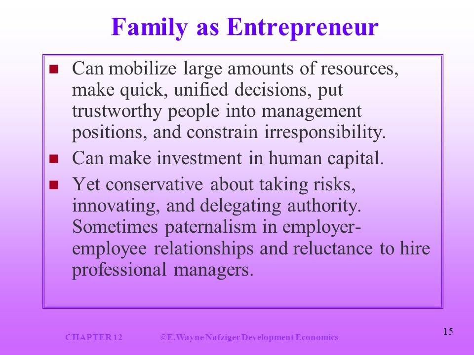 CHAPTER 12©E.Wayne Nafziger Development Economics 15 Family as Entrepreneur Can mobilize large amounts of resources, make quick, unified decisions, put trustworthy people into management positions, and constrain irresponsibility.