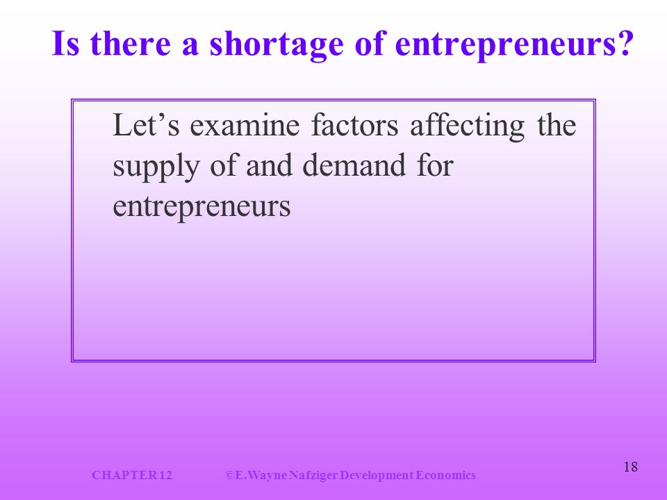 CHAPTER 12©E.Wayne Nafziger Development Economics 18 Is there a shortage of entrepreneurs.