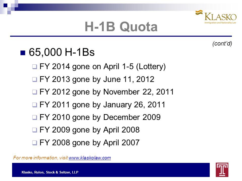 Klasko, Rulon, Stock & Seltzer, LLP H-1B Quota (cont'd) For more information, visit www.klaskolaw.com 65,000 H-1Bs  FY 2014 gone on April 1-5 (Lottery)  FY 2013 gone by June 11, 2012  FY 2012 gone by November 22, 2011  FY 2011 gone by January 26, 2011  FY 2010 gone by December 2009  FY 2009 gone by April 2008  FY 2008 gone by April 2007