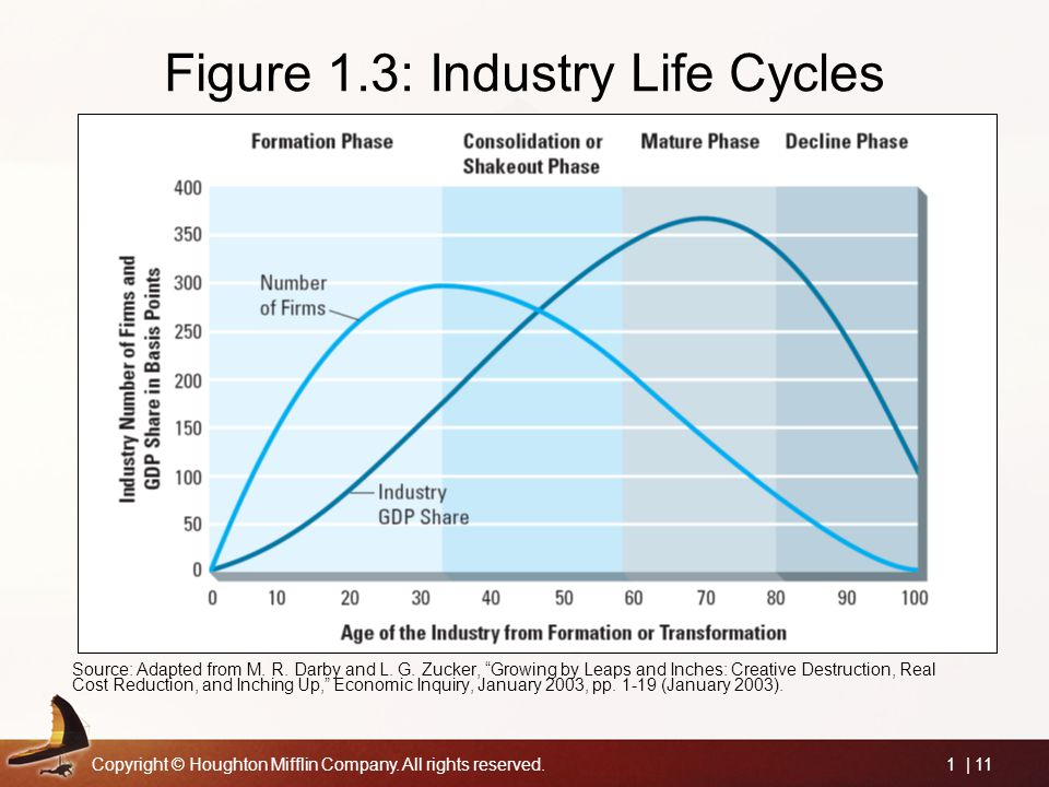 Copyright © Houghton Mifflin Company. All rights reserved.1 | 11 Figure 1.3: Industry Life Cycles Source: Adapted from M. R. Darby and L. G. Zucker, ""