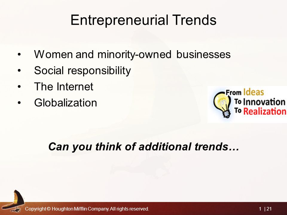 Copyright © Houghton Mifflin Company. All rights reserved.1 | 21 Entrepreneurial Trends Women and minority-owned businesses Social responsibility The