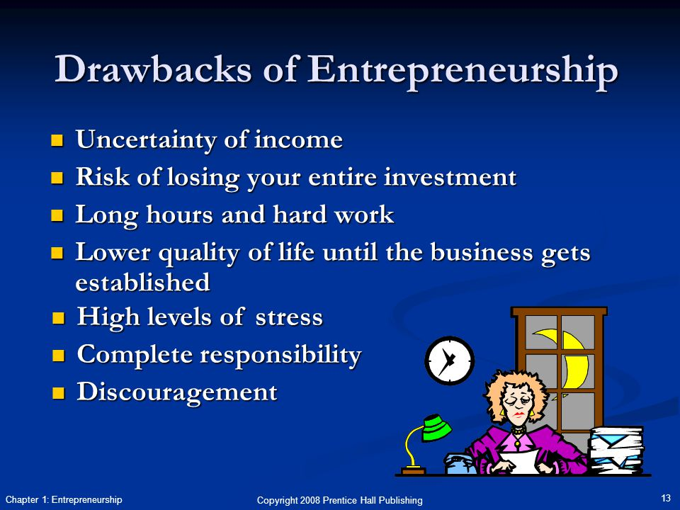 Copyright 2008 Prentice Hall Publishing 13 Chapter 1: Entrepreneurship Drawbacks of Entrepreneurship Uncertainty of income Uncertainty of income Risk of losing your entire investment Risk of losing your entire investment Long hours and hard work Long hours and hard work Lower quality of life until the business gets established Lower quality of life until the business gets established High levels of stress High levels of stress Complete responsibility Complete responsibility Discouragement Discouragement
