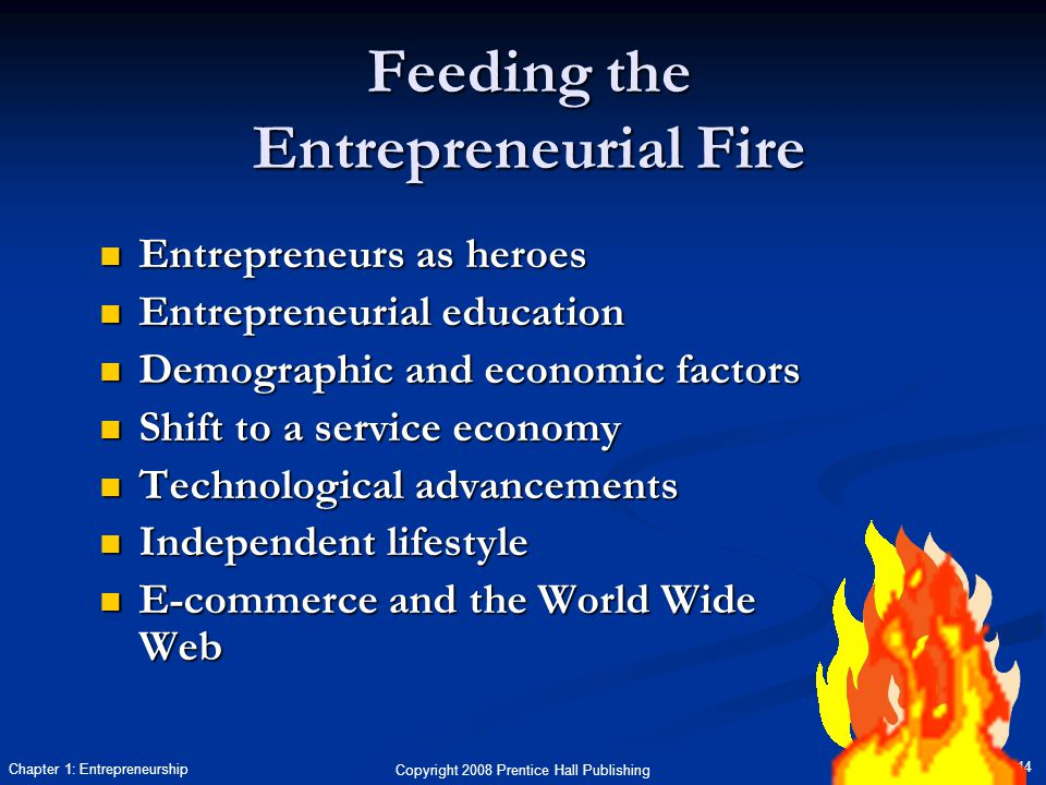 Copyright 2008 Prentice Hall Publishing 14 Chapter 1: Entrepreneurship Feeding the Entrepreneurial Fire Entrepreneurs as heroes Entrepreneurs as heroes Entrepreneurial education Entrepreneurial education Demographic and economic factors Demographic and economic factors Shift to a service economy Shift to a service economy Technological advancements Technological advancements Independent lifestyle Independent lifestyle E-commerce and the World Wide Web E-commerce and the World Wide Web