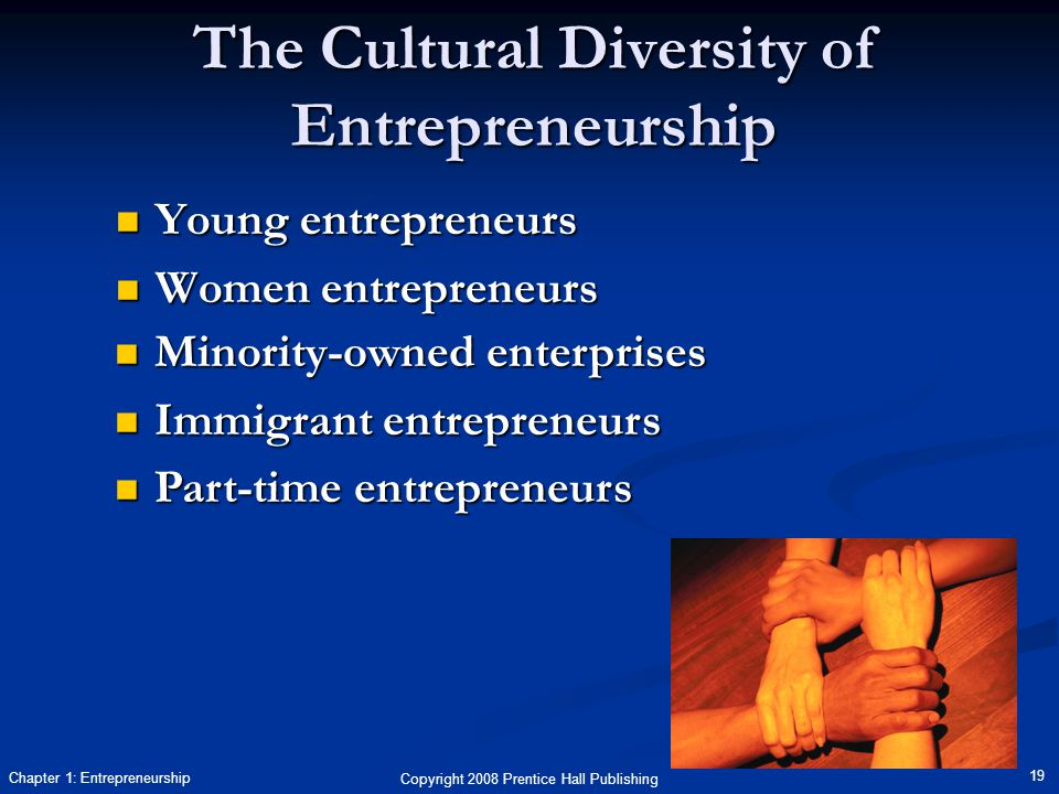 Copyright 2008 Prentice Hall Publishing 19 Chapter 1: Entrepreneurship The Cultural Diversity of Entrepreneurship Young entrepreneurs Young entrepreneurs Women entrepreneurs Women entrepreneurs Minority-owned enterprises Minority-owned enterprises Immigrant entrepreneurs Immigrant entrepreneurs Part-time entrepreneurs Part-time entrepreneurs