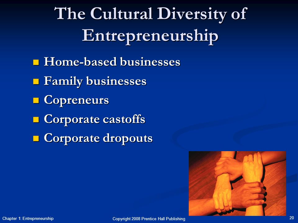 Copyright 2008 Prentice Hall Publishing 20 Chapter 1: Entrepreneurship The Cultural Diversity of Entrepreneurship Home-based businesses Home-based businesses Family businesses Family businesses Copreneurs Copreneurs Corporate castoffs Corporate castoffs Corporate dropouts Corporate dropouts