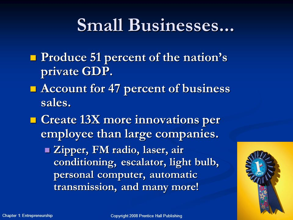 Copyright 2008 Prentice Hall Publishing 23 Chapter 1: Entrepreneurship Produce 51 percent of the nation's private GDP.