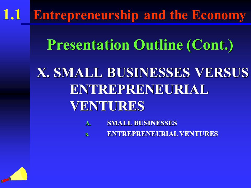 1.1 Entrepreneurship and the Economy Presentation Outline (Cont.) VIII.