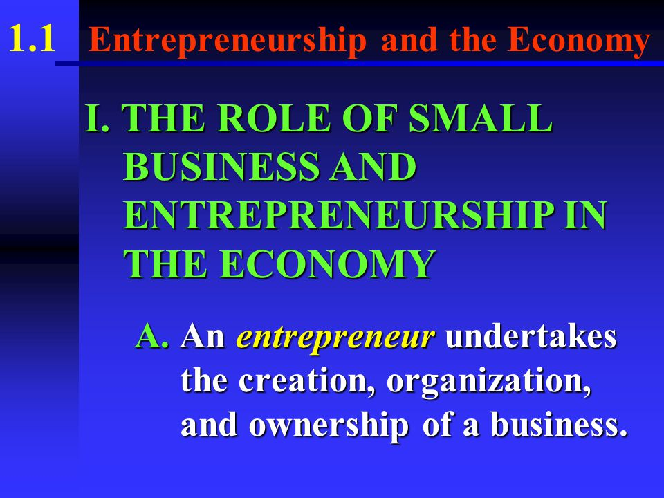 1.1 Entrepreneurship and the Economy Presentation Outline (Cont.) X.