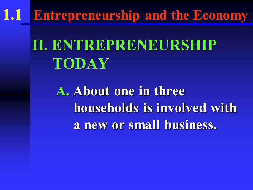 1.1 Entrepreneurship and the Economy E.