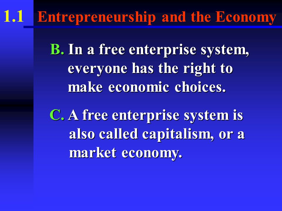 1.1 Entrepreneurship and the Economy III. THE FREE ENTERPRISE SYSTEM A.