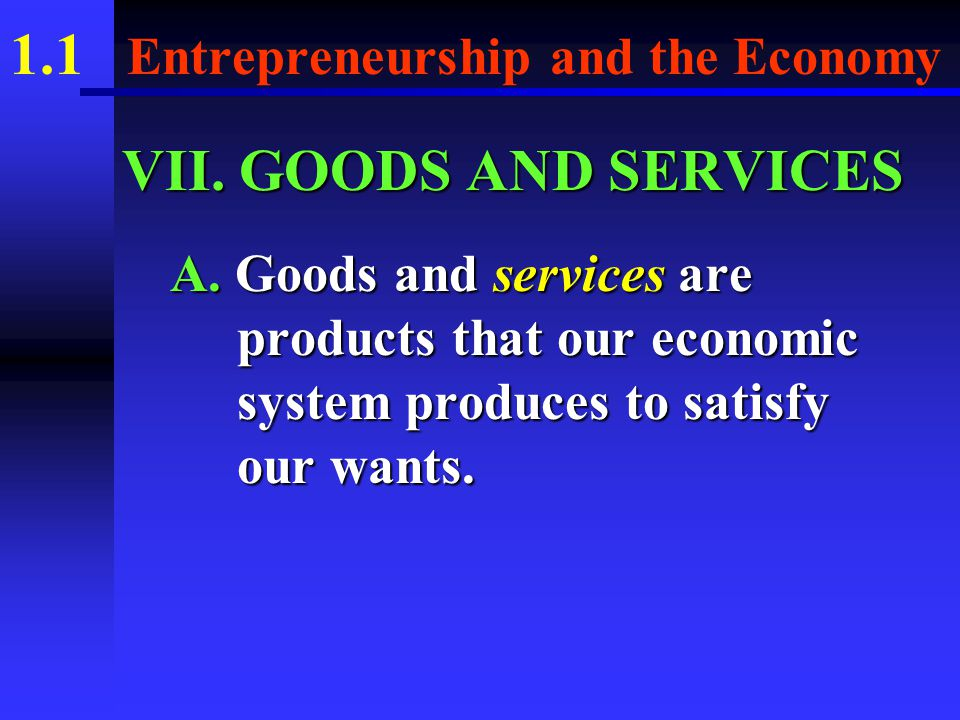 1.1 Entrepreneurship and the Economy B.