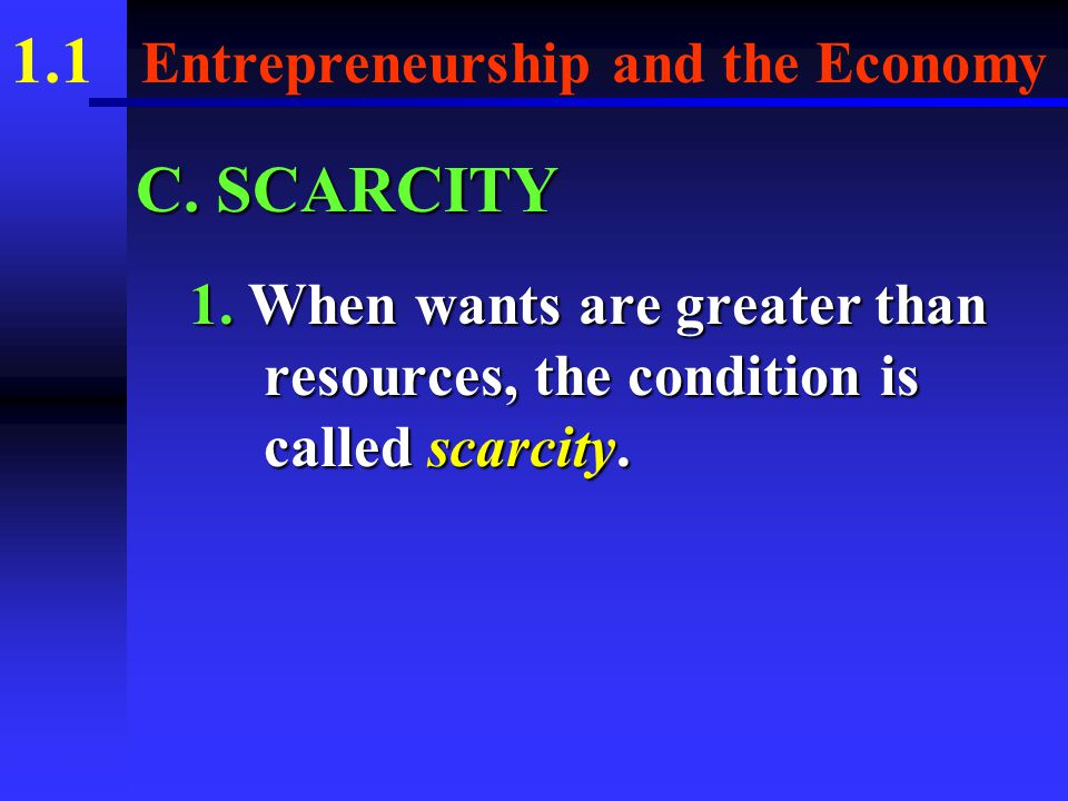 1.1 Entrepreneurship and the Economy B. There are four main factors of production.