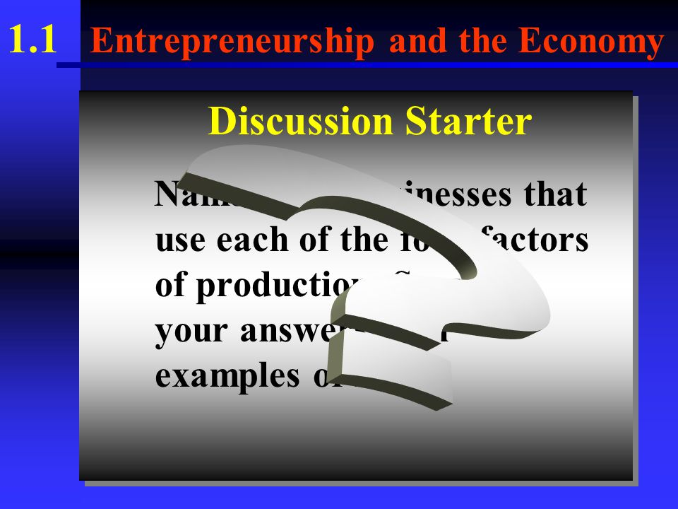 1.1 Entrepreneurship and the Economy 2. Items that are scarce include the following.