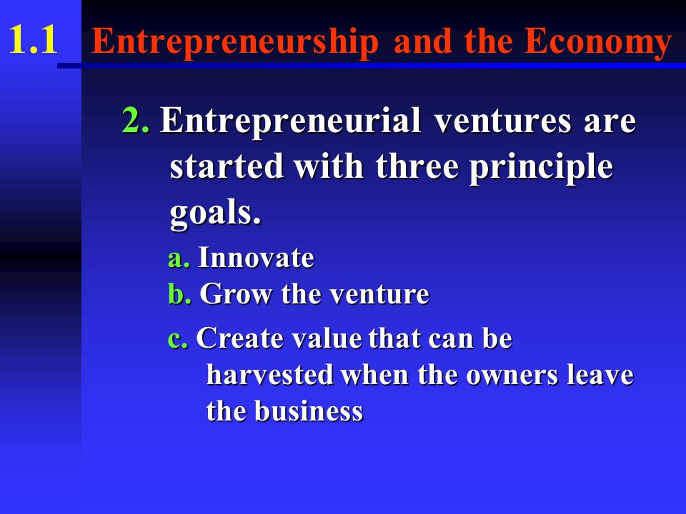 1.1 Entrepreneurship and the Economy B. ENTREPRENEURIAL VENTURE 1.