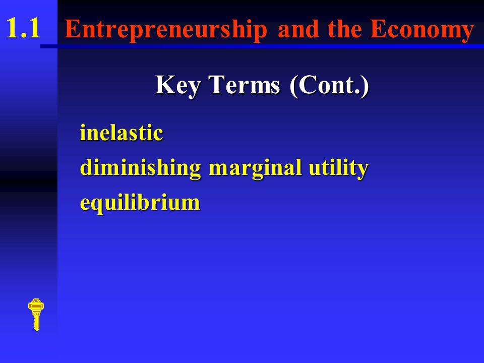 1.1 Entrepreneurship and the Economy Key Terms (Cont.) profitservices factors of production scarcitydemandelastic