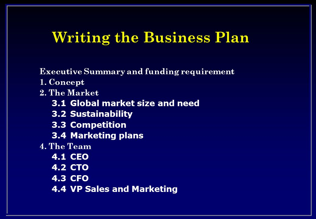 Writing the Business Plan Executive Summary and funding requirement 1.