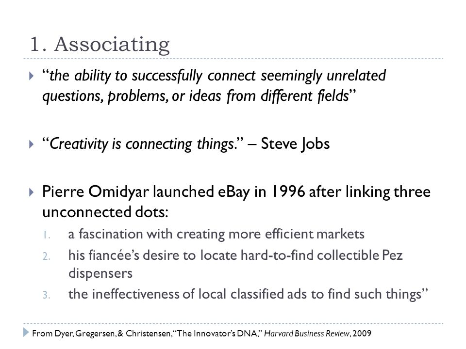 """1. Associating  """"the ability to successfully connect seemingly unrelated questions, problems, or ideas from different fields""""  """"Creativity is connec"""