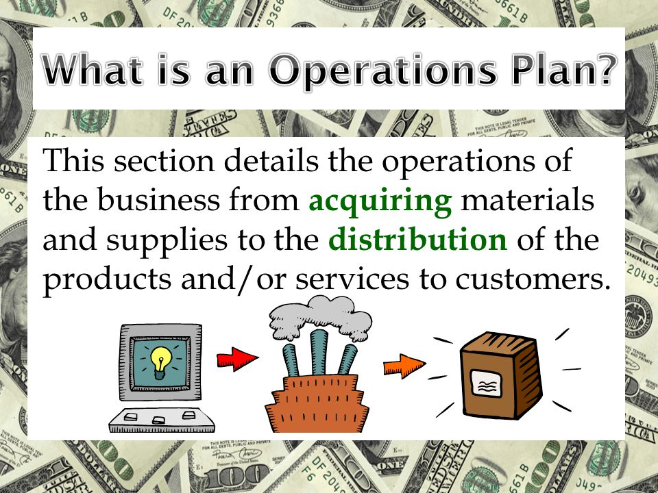 This section details the operations of the business from acquiring materials and supplies to the distribution of the products and/or services to custo