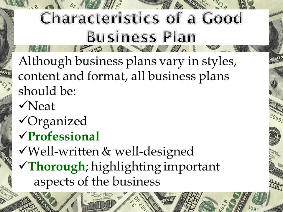 Although business plans vary in styles, content and format, all business plans should be: Neat Organized Professional Well-written & well-designed Tho