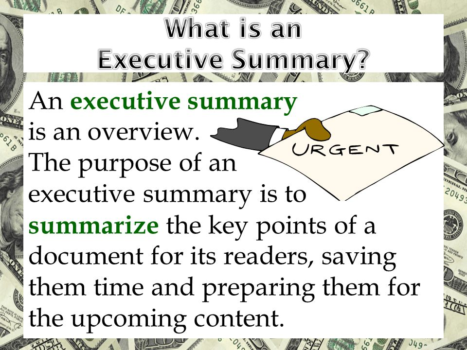 An executive summary is an overview.