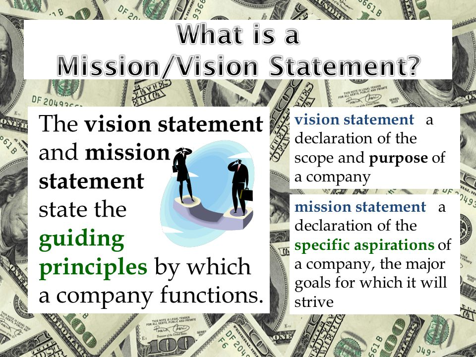 vision statement a declaration of the scope and purpose of a company mission statement a declaration of the specific aspirations of a company, the major goals for which it will strive The vision statement and mission statement state the guiding principles by which a company functions.