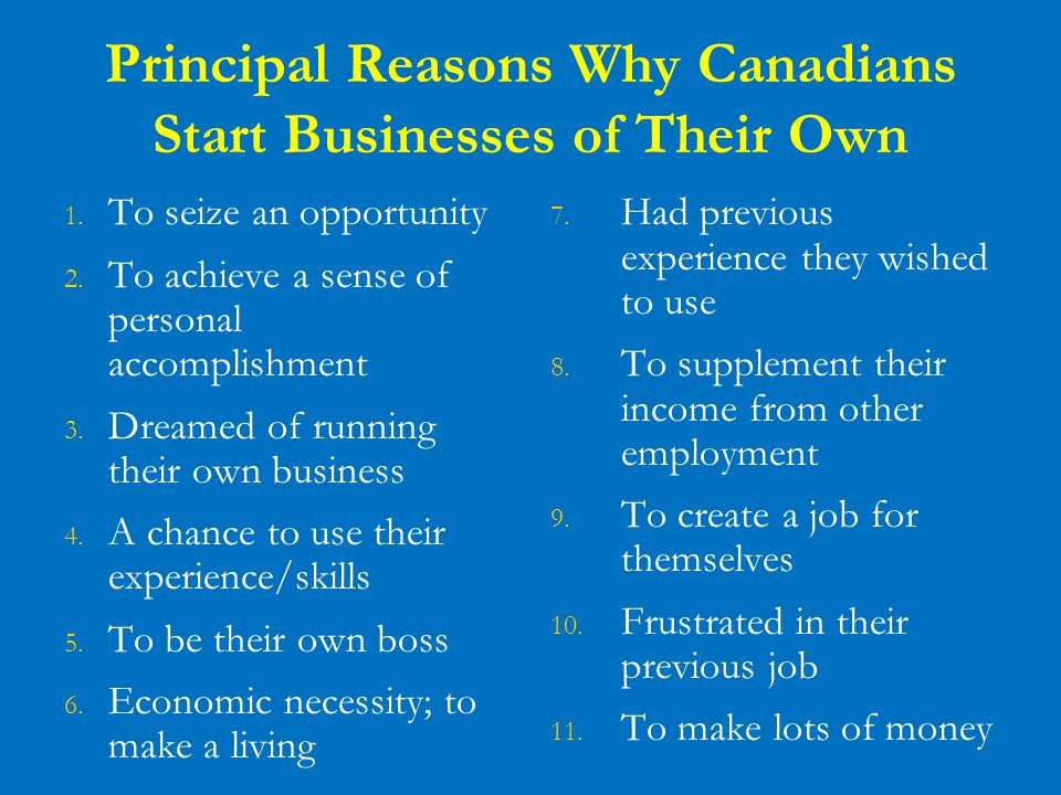 Principal Reasons Why Canadians Start Businesses of Their Own 1. To seize an opportunity 2. To achieve a sense of personal accomplishment 3. Dreamed o