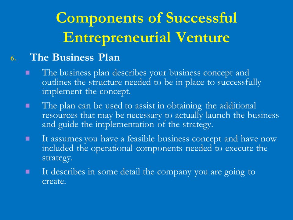 The Components of Successful Entrepreneurial Ventures Opportunity Resources Entrepreneur Organization Strategy Business Plan