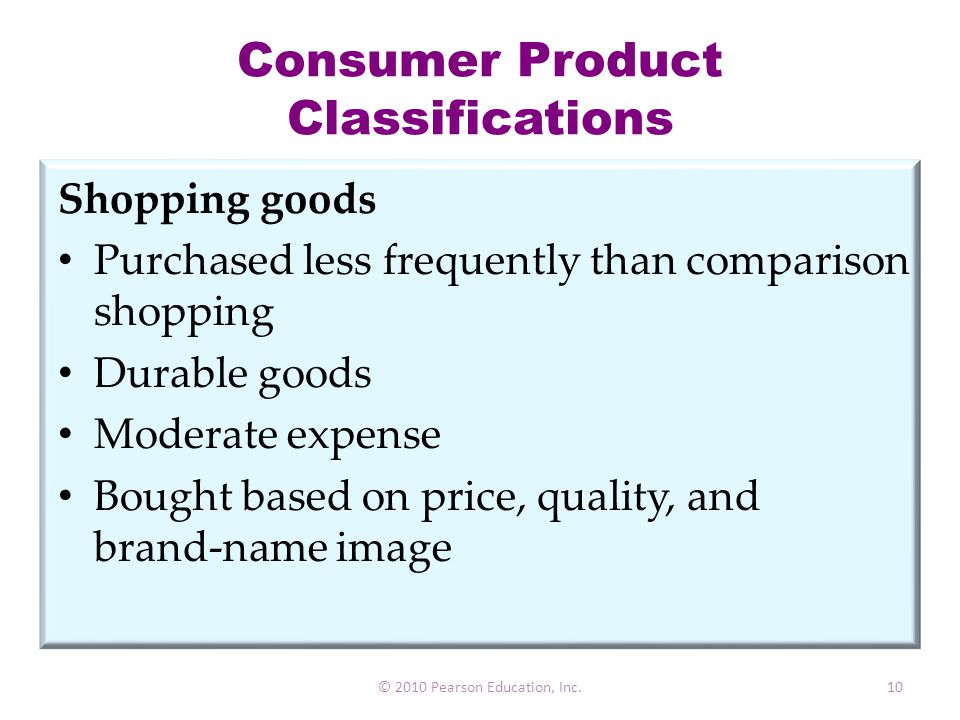 Consumer Product Classifications Shopping goods Purchased less frequently than comparison shopping Durable goods Moderate expense Bought based on pric