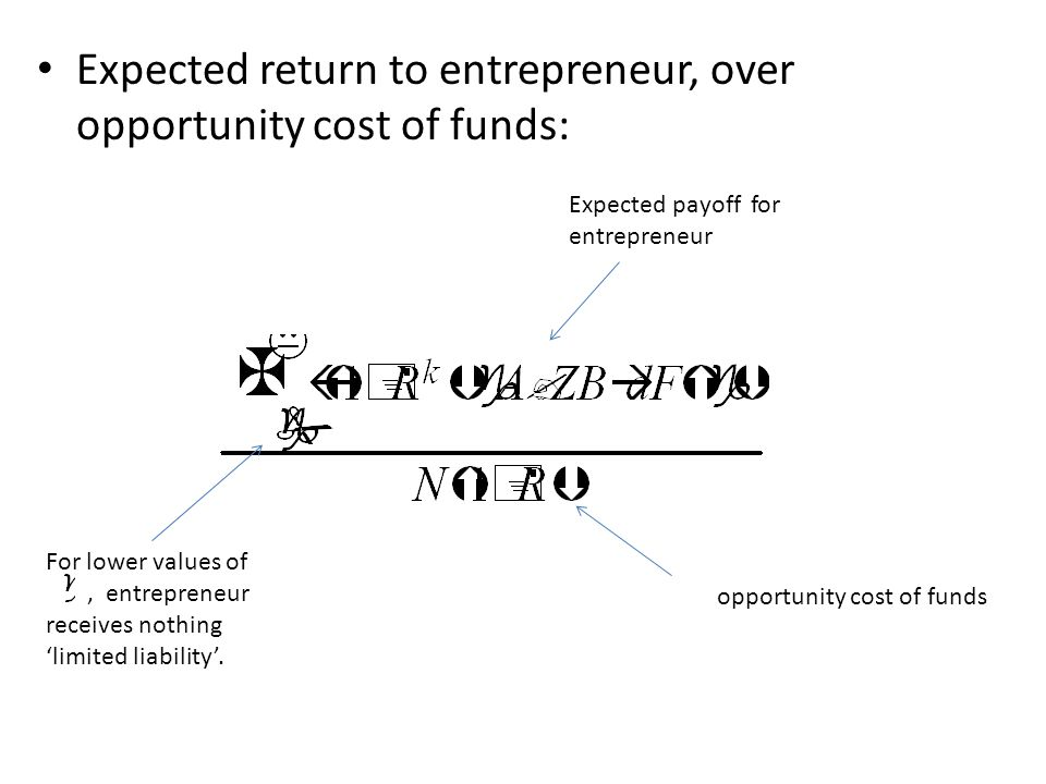 Expected return to entrepreneur, over opportunity cost of funds: Expected payoff for entrepreneur opportunity cost of funds For lower values of, entrepreneur receives nothing 'limited liability'.