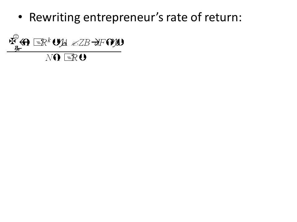 Rewriting entrepreneur's rate of return: Entrepreneur's return unbounded above – Risk neutral entrepreneur would always want to borrow an infinite amount (infinite leverage).