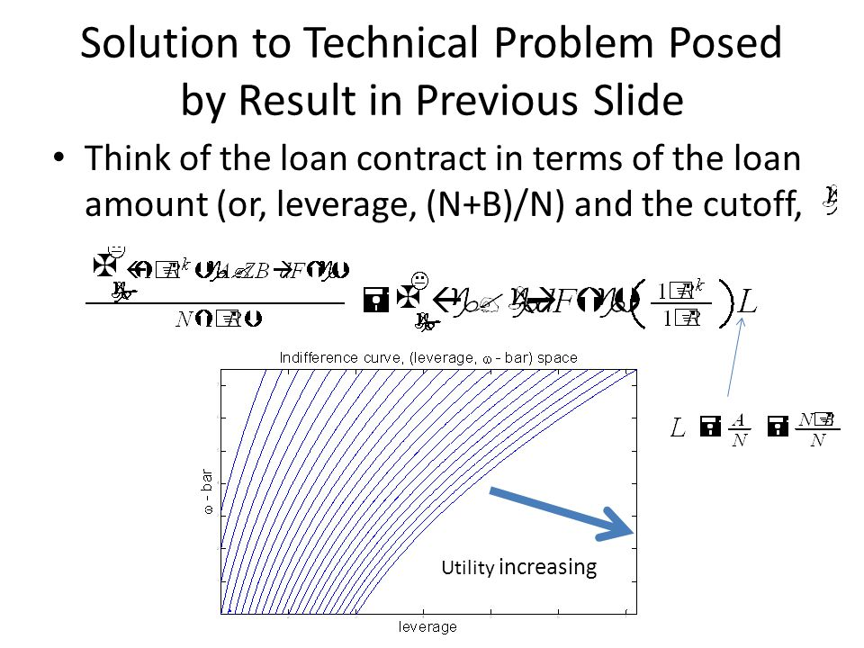 Solution to Technical Problem Posed by Result in Previous Slide Think of the loan contract in terms of the loan amount (or, leverage, (N+B)/N) and the cutoff, Utility increasing