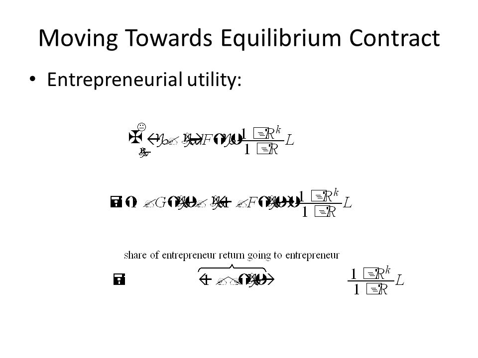 Moving Towards Equilibrium Contract Entrepreneurial utility: