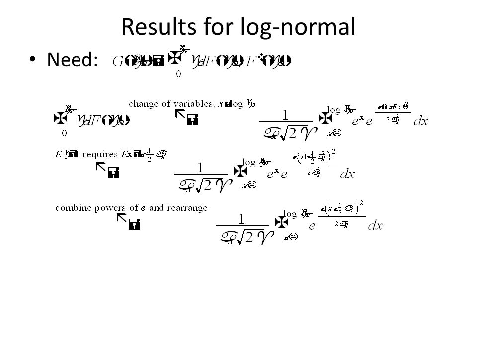 Results for log-normal Need: cdf for standard normal