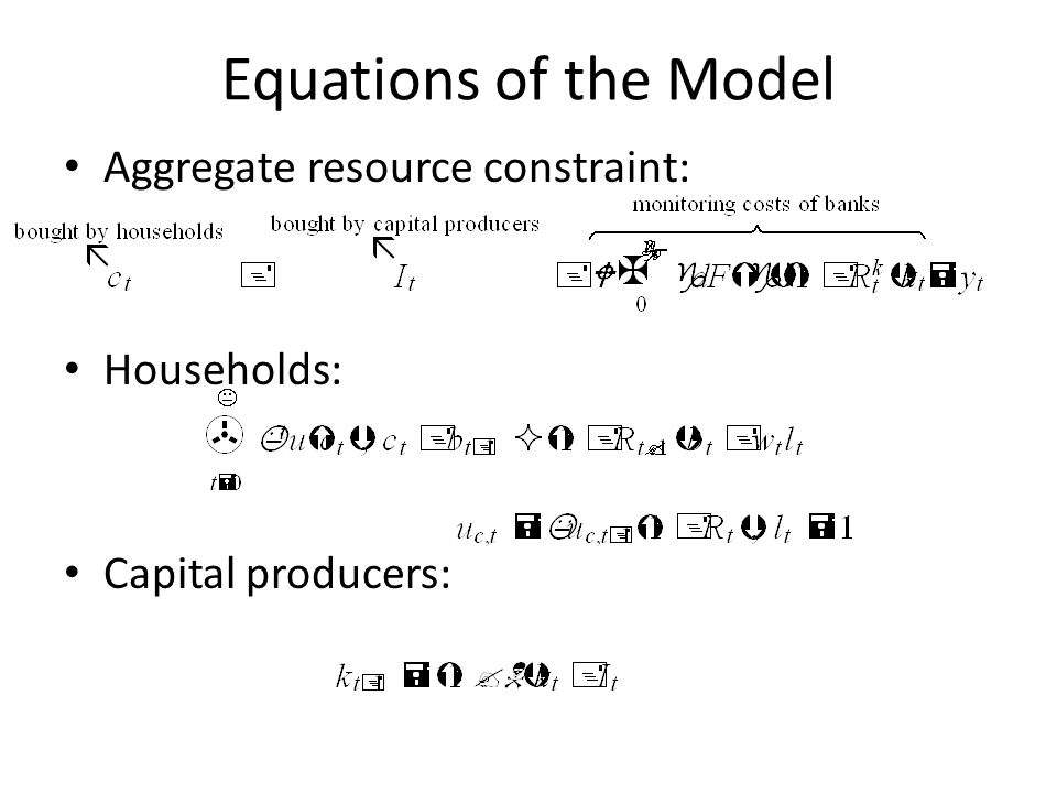 Equations of the Model Aggregate resource constraint: Households: Capital producers:
