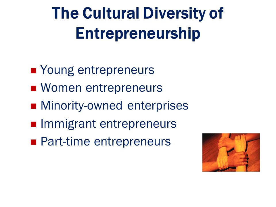 The Cultural Diversity of Entrepreneurship Young entrepreneurs Women entrepreneurs Minority-owned enterprises Immigrant entrepreneurs Part-time entrep